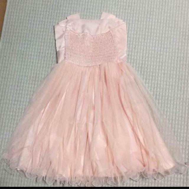 パーティドレス サーモンピンク コーラルピンク レース リボン レディースのフォーマル/ドレス(その他ドレス)の商品写真