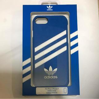アディダス(adidas)のadidas iPhone7 レザー ハード ケース ブルー(iPhoneケース)