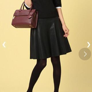 デミルクスビームス(Demi-Luxe BEAMS)のDemi-Luxe BEAMS ♡ 黒レザースカート(ひざ丈スカート)