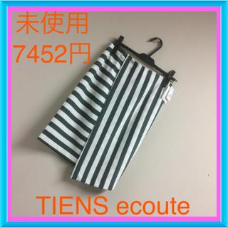 ティアンエクート(TIENS ecoute)の未使用♡7452円♡アシンメトリーボーダースカート(ひざ丈スカート)
