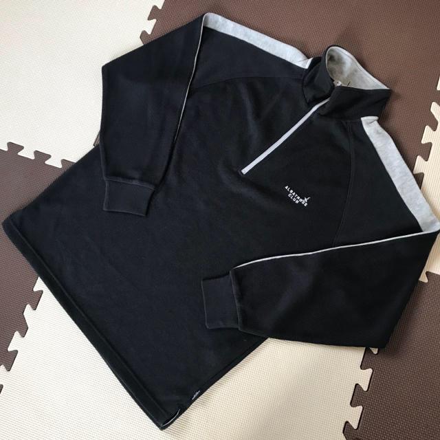 【新品】クォーター ジップ プルオーバー★ファスナー トレーナー 黒 ブラック メンズのトップス(スウェット)の商品写真