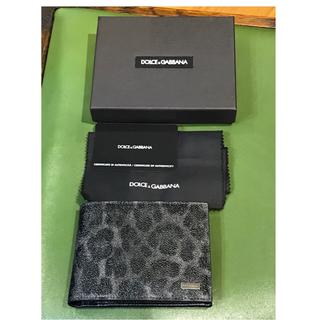 ドルチェアンドガッバーナ(DOLCE&GABBANA)の新品▪️ドルチェ&ガッバーナ 二つ折り財布 レオパード グレーブラック(折り財布)