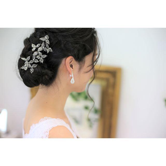 【新品、日本製】ビーズ&パールのヘアアクセ 10本セット 高品質 レディースのフォーマル/ドレス(ウェディングドレス)の商品写真