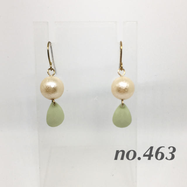 優しいグリーン雫とパールのピアス no.463 ハンドメイドのアクセサリー(ピアス)の商品写真