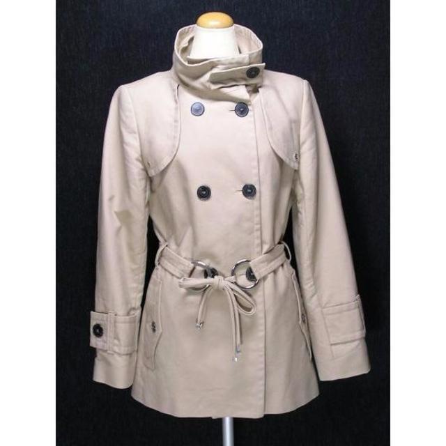 ZARA(ザラ)の ザラZARAベージュリボンデザインコートL美品   D644 レディースのジャケット/アウター(ピーコート)の商品写真