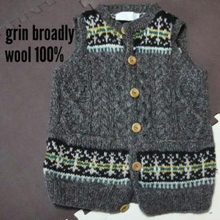 アージェントグリーム(Argent Gleam)の73⬛美品☆grin broadly  wool100%ベスト 茶色(ニット/セーター)