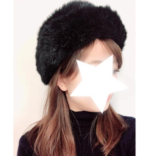 ディーホリック(dholic)の黒ファー帽子(帽子)