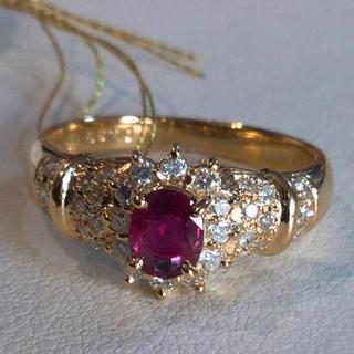 K18 天然 ルビー ダイヤモンド リング 18金(リング(指輪))