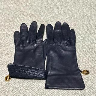 クリスチャンディオール(Christian Dior)のクリスチャン ディオール ラム革 手袋 ミッドナイトブルー 濃紺(手袋)