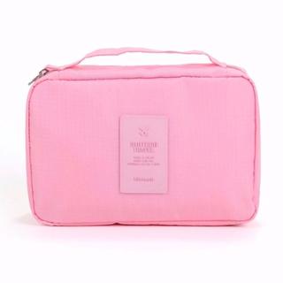 トラベルポーチ コスメ 洗面用具 小物整理 携帯便利 旅行や温泉(ピンク)(旅行用品)