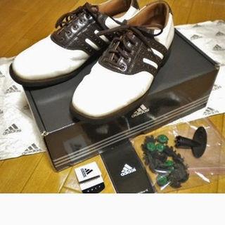 アディダス(adidas)のadidasアディダス本革ゴルフシューズ/クロコ型押し/白茶/メンズ26.5(シューズ)