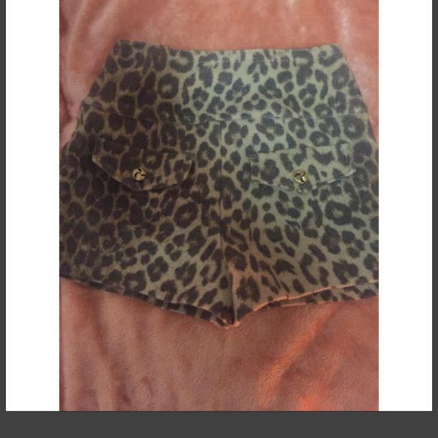 ByeBye(バイバイ)のレオパード ハイウエスト ショートパンツ ショーパン スキニー レギンス リブ レディースのパンツ(ショートパンツ)の商品写真