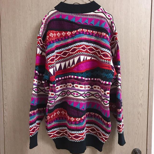 古着 パープル立体デザインニットセーター COOGI風 メンズのトップス(ニット/セーター)の商品写真
