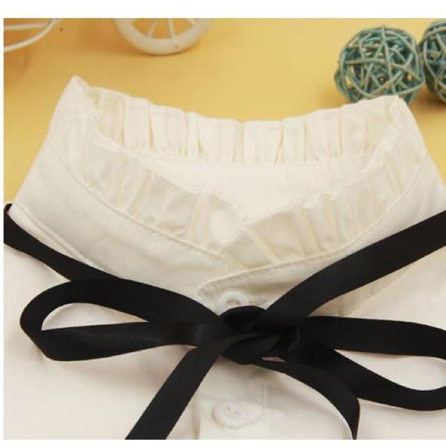 今爆発的人気商品 つけ襟 レディース リボン ホワイト フリル ハイネック レディースのアクセサリー(つけ襟)の商品写真