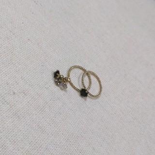 ブラックダイヤモチーフ ピンキーリング/2連リング(リング(指輪))