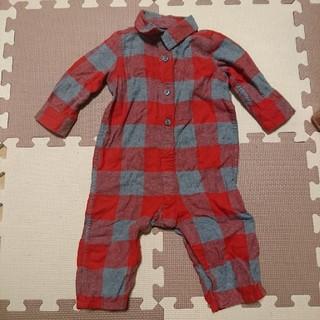 ベビーギャップ(babyGAP)のbabyGAP 赤×グレー ブロックチェックロンパース 6-12m(ロンパース)