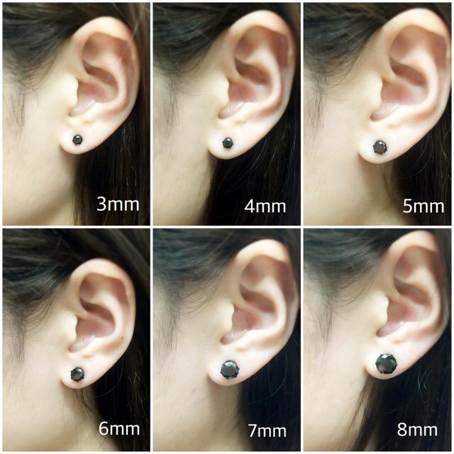 414  ブラックの輝き!選べる6サイズ!医学用ステンレス1ポイントピアス片耳  メンズのアクセサリー(ピアス(片耳用))の商品写真