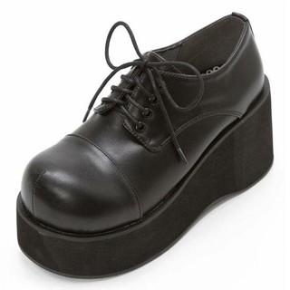 ユメテンボウ(夢展望)の厚底レースアップおでこ靴・新品未使用・夢展望・24㎝・黒・Bubbles(ローファー/革靴)