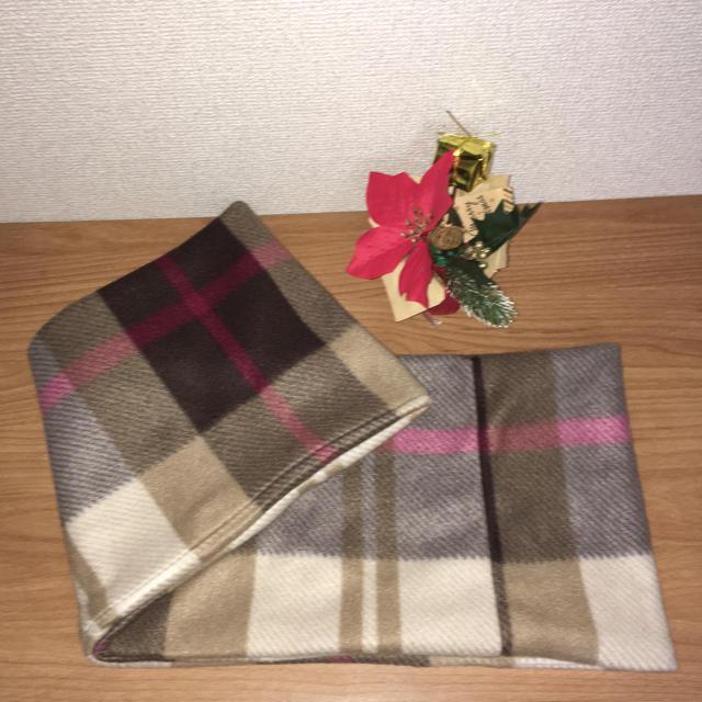 チェックフリースのスヌード(ブラウン) ハンドメイドのファッション小物(マフラー/ストール)の商品写真
