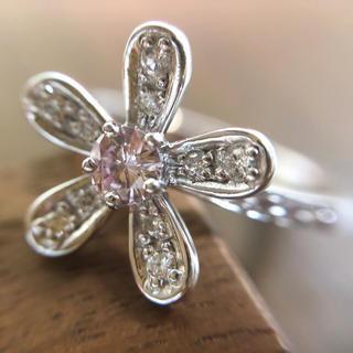 秘蔵っ子!大粒の天然ピンクダイヤモンドが香る…K18WGリング(リング(指輪))
