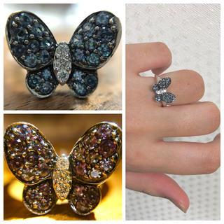 妖艶なアレキサンドライト蝶々…K18WGパピヨンリング(リング(指輪))