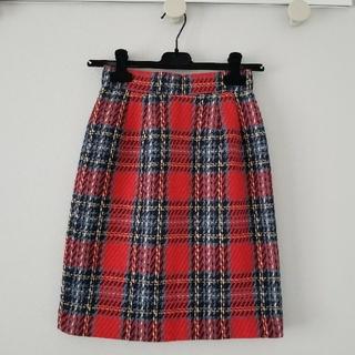 ロキエ(Lochie)のvintage ウールチェックスカート(ひざ丈スカート)