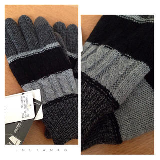 レイジブルー(RAGEBLUE)の新品未使用☆スマホ対応手袋 グレー&ブラック(手袋)
