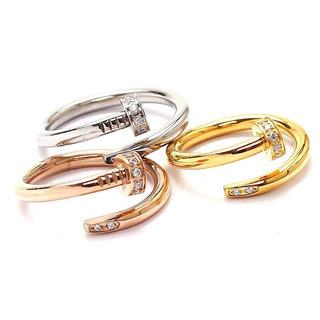 37 大人気★スワロ付き一本の釘リング 芸能人多数愛用タイプ(リング(指輪))