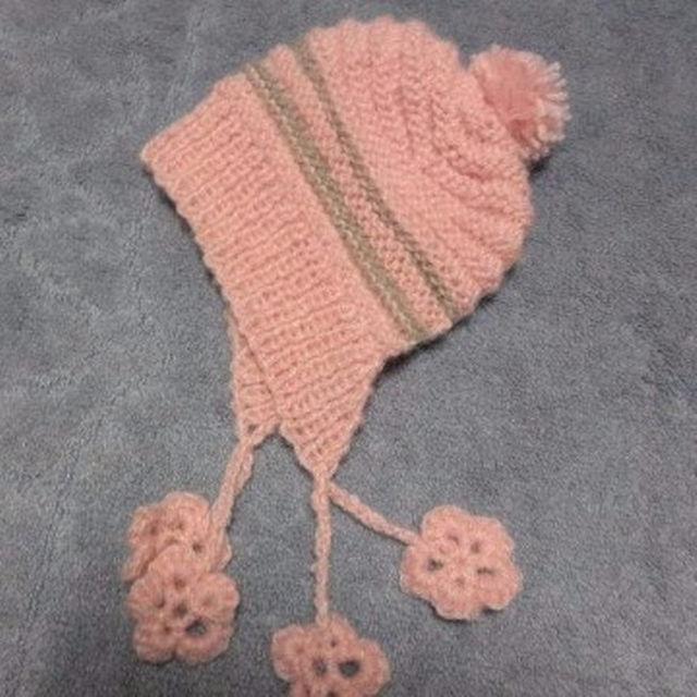 手編み★耳あて付きニット帽子ピンク ハンドメイドのファッション小物(帽子)の商品写真