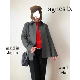 アニエスベー(agnes b.)のアニエス・ベー♡日本製 くるみ 比翼ボタン ウールグレージャケットコート38(ノーカラージャケット)
