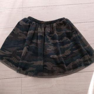 ジーユー(GU)の【よっしー様専用】MPS☆迷彩柄スカート インナーパンツ付 130 白ロングT(スカート)
