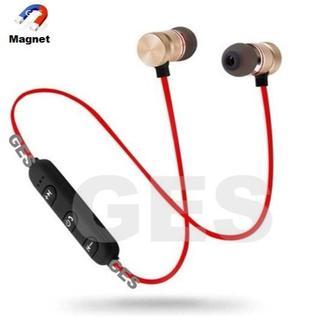 ★ゴールド&レッド - マグネット付 Bluetooth ワイヤレス イヤホン