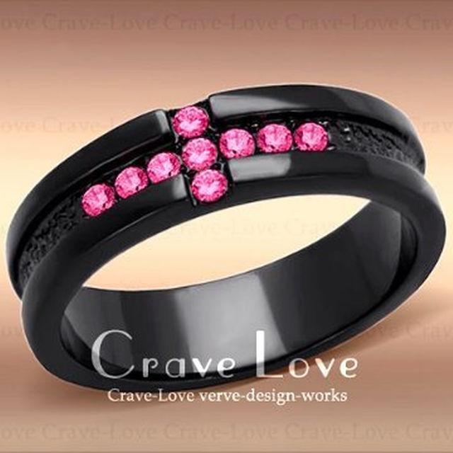 12号 可愛い フーシャピンク クロス ブラック ステンレス リング 指輪 黒 レディースのアクセサリー(リング(指輪))の商品写真