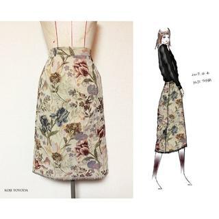 【1点もの・デザイン画付き】ゴブラン織スカート(ひざ丈スカート)