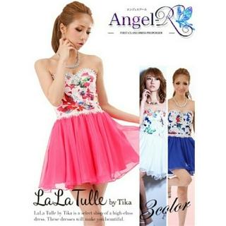 エンジェルアール(AngelR)のangel R❤️✨花柄フレアドレス  ピンク(ミニドレス)