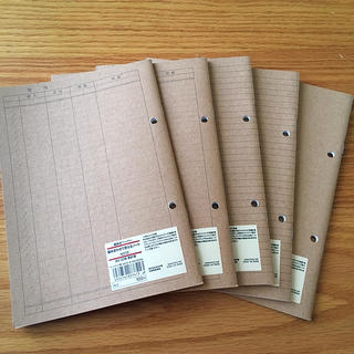 ムジルシリョウヒン(MUJI (無印良品))の組み合わせて使えるノート5冊 家計簿 横罫 無地(ノート/メモ帳/ふせん)