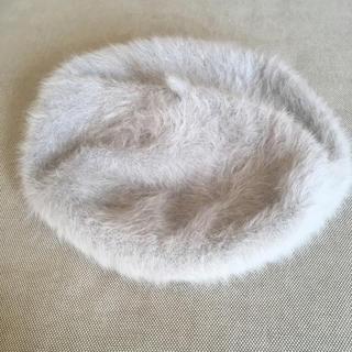 イーハイフンワールドギャラリー(E hyphen world gallery)の値下げ!アンゴラ混 ベレー帽 ライトグレー(ハンチング/ベレー帽)
