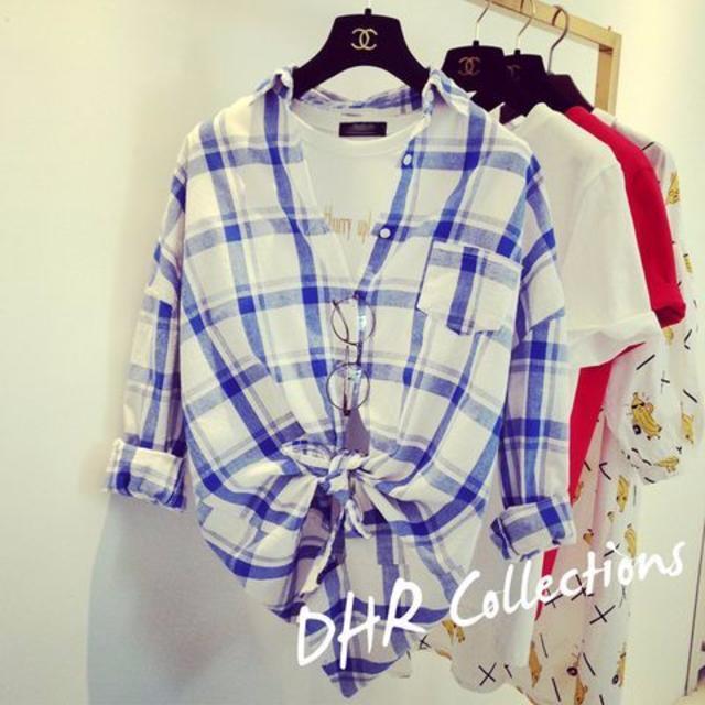 新品☆チェック キレイシャツ ブルー レディースのトップス(シャツ/ブラウス(長袖/七分))の商品写真