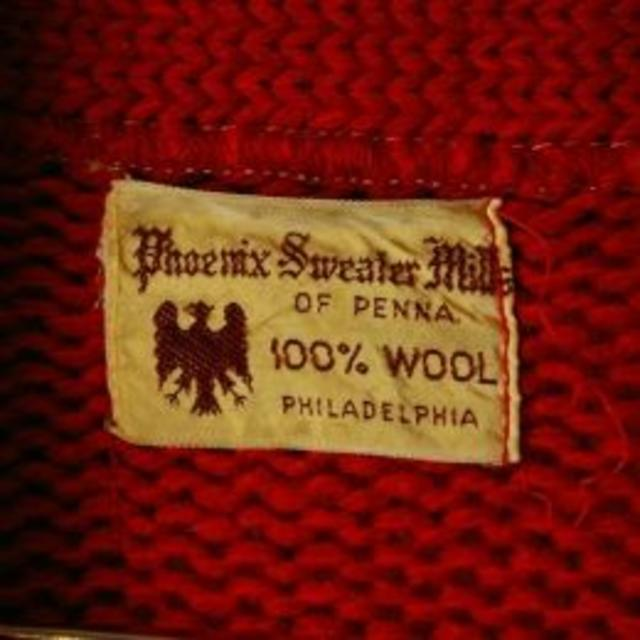 レタードカーディガン USA 40's ウール100% レッド 赤 ca-49 メンズのトップス(カーディガン)の商品写真