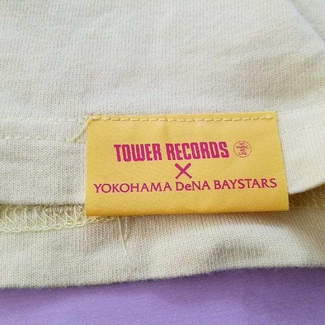 横浜DeNAベイスターズ(ヨコハマディーエヌエーベイスターズ)の横浜DeNAベイスターズ タワーレコード コラボ Tシャツ イエロー Lサイズ スポーツ/アウトドアの野球(応援グッズ)の商品写真
