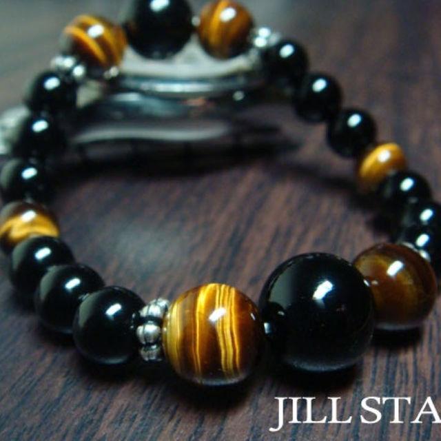 男らしさを感じるブラックオニキス×タイガーアイ天然石数珠メンズブレスレット メンズのアクセサリー(ブレスレット)の商品写真