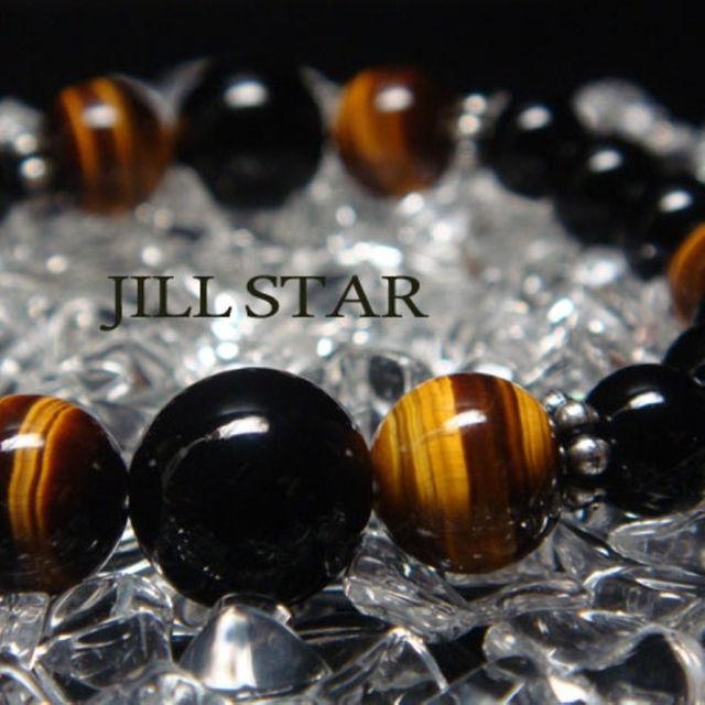 男らしさを感じるブラックオニキス×タイガーアイ天然石数珠メンズブレスレット メンズのファッション小物(その他)の商品写真