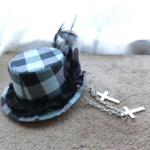 ハンドメイド グリーン ゴシック帽子 ハンドメイドのファッション小物(帽子)の商品写真
