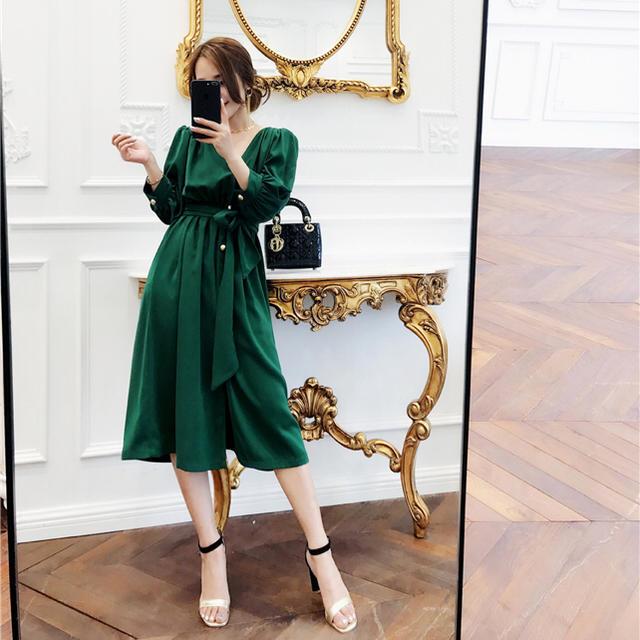 Grimoire(グリモワール)の❁ レトロヴィンテージグリーンハイウエストドレス レディースのフォーマル/ドレス(ミディアムドレス)の商品写真
