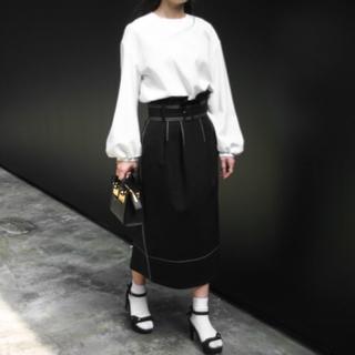 ルシェルブルー(LE CIEL BLEU)のルシェルブルー ハイウエスト ステッチ ベルト スカート 38(ひざ丈スカート)