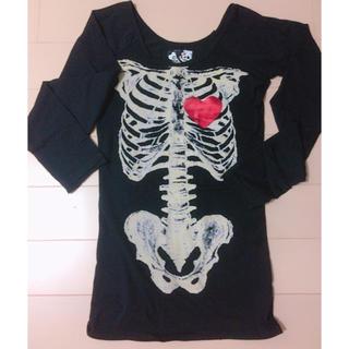 グラビル 骨プリント ロングTシャツ