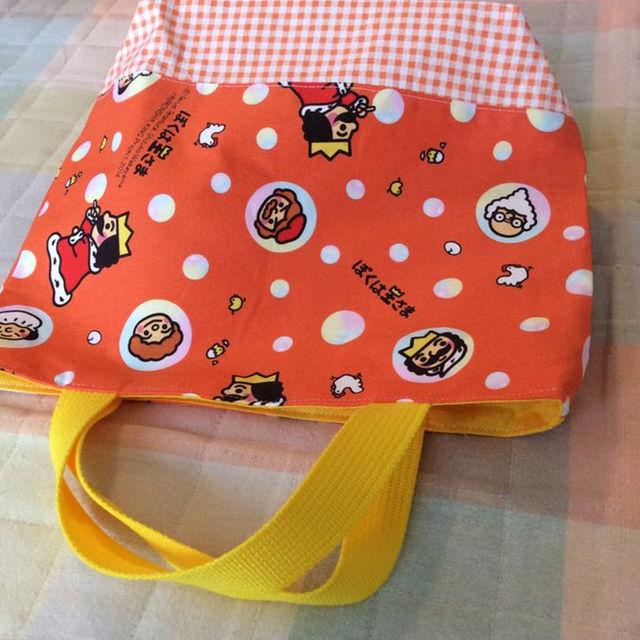 ハンドメイド ぼくは王さま オレンジ系ミニトートバッグ ハンドメイドのキッズ/ベビー(外出用品)の商品写真