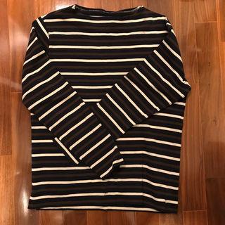 ムジルシリョウヒン(MUJI (無印良品))の美品 込 無印良品 L ボーダー(Tシャツ/カットソー(七分/長袖))