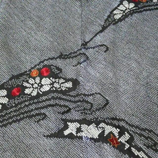 羽織  そうしぼり てしぼり  黒 レディースの水着/浴衣(着物)の商品写真