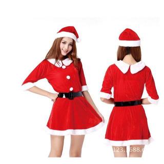 [在庫僅少] サンタコスプレ3点セット✩おまけピアス2個付き♪♪(衣装一式)
